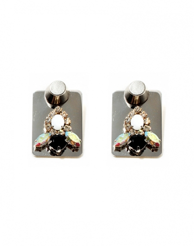 Crystal Plate Pierce Earring