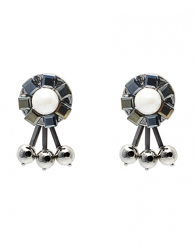 Circle Pearl Three Ball Drop Earring