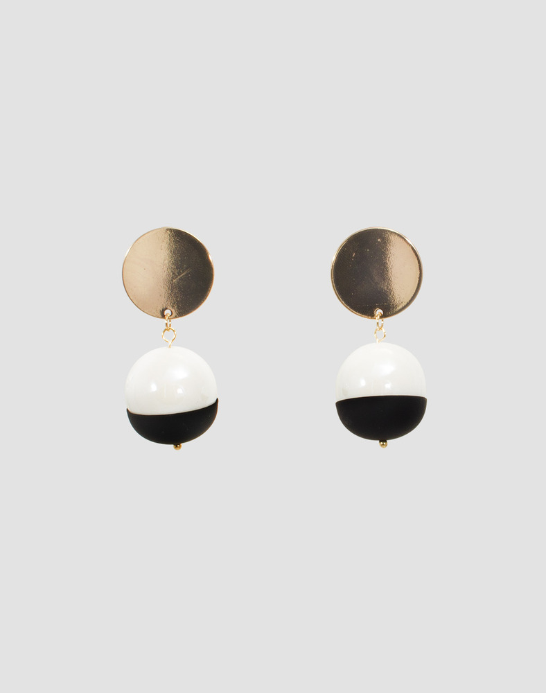 Half moon big ball earring