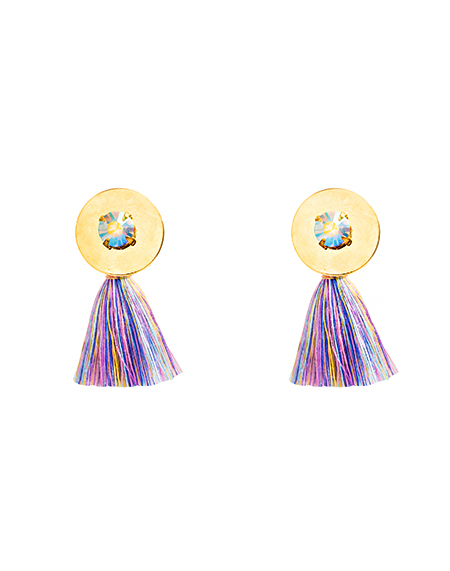 Crystal embelished tassel earring_lavender