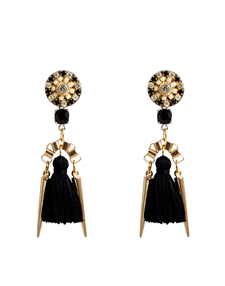 Black White Combo Cubic Button Tassel Earring