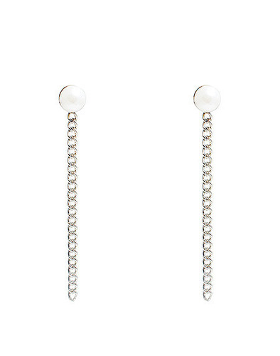 Pearl chain simple earring