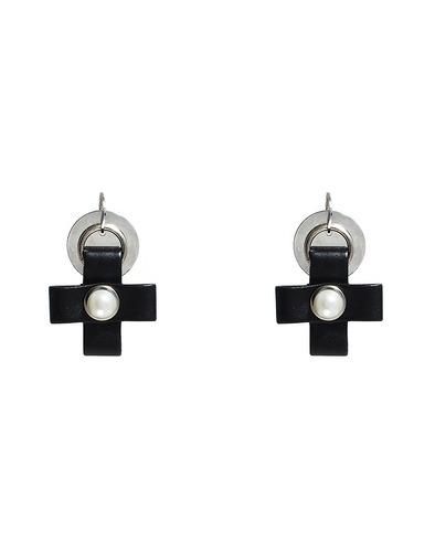 Leather cross circle pendant earring
