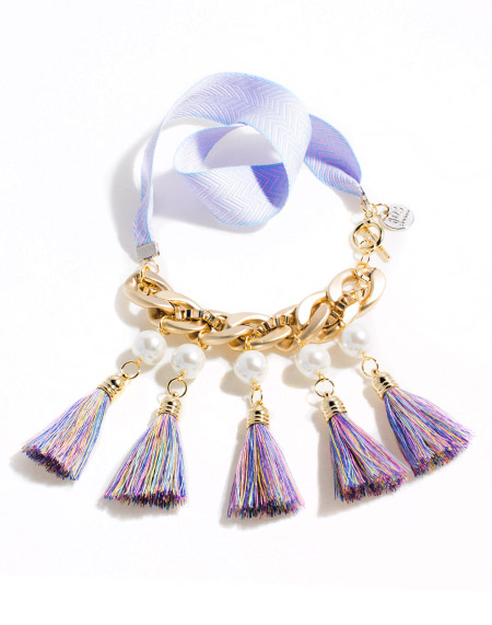 Lilac tassel pearl chain necklace