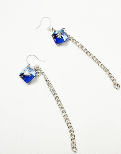 Blue Square crystal earring
