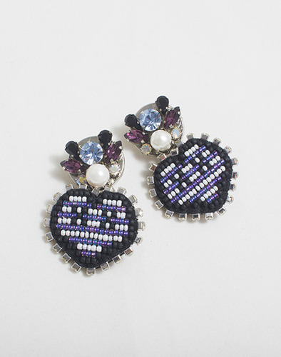XOXO Heart stripe earring_VL