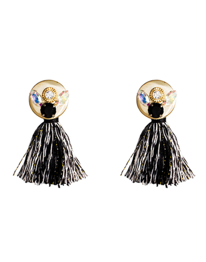 crystal emblished black mix tassel earring