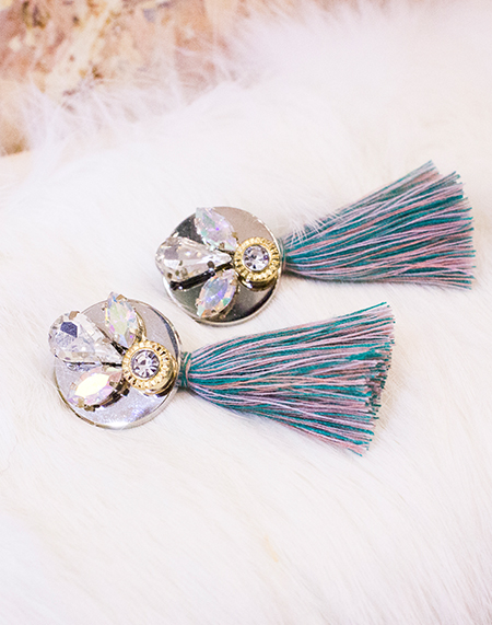 opal crystal emblished mint mix tassel ear